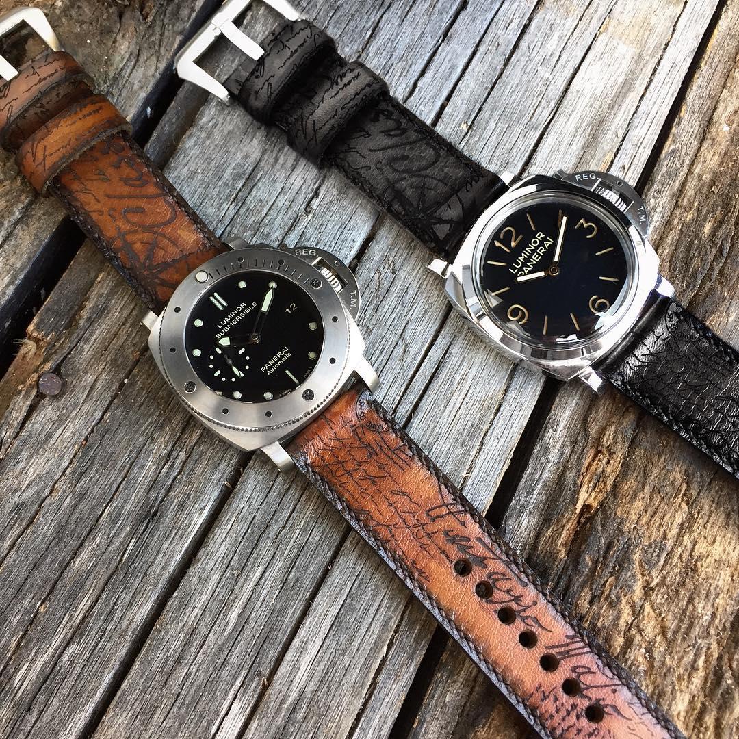 malio-straps-vintaggio-brown-on-panerai-submersible-and-vintaggio-black-on-panerai-luminor